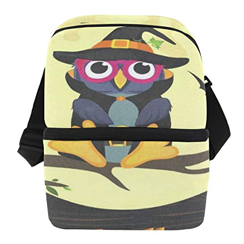 Lunch Bag Halloween Owl In Witch Costume Portable Cooler Bag Womens Leakproof refrigerator Storage Zipper Tote Bags for Camping ()