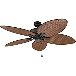 Prominence Home 80013-01 Palm Island Tropical Ceiling Fan, Palm Leaf Blades, Indoor/Outdoor, 52 inches, Bronze