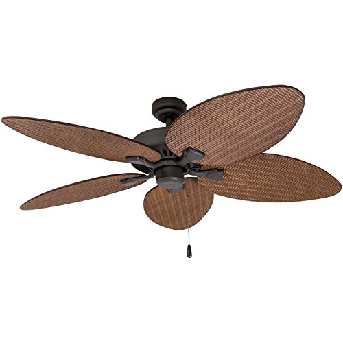 52 Gauguin Tropical 4 Blade Indoor Outdoor Ceiling Fan: Prominence Home 80013-01 Palm Island Tropical Ceiling Fan