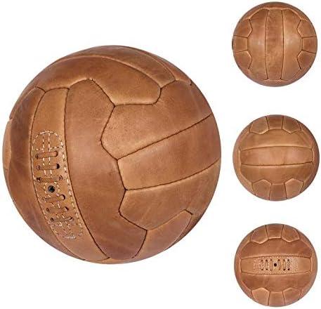 FNine - Balón de fútbol vintage (piel envejecida), 5, Café Oscuro ...
