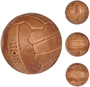 FNine Vintage Soccer Ball, Antique Leather Football