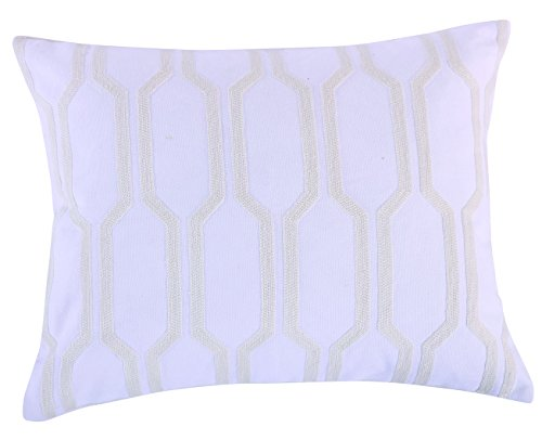 Crewel Bedding (Levtex Spruce Spa Crewel Pillow, White)