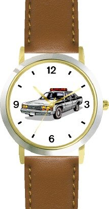 Police Car 2 - WATCHBUDDY DELUXE TWO-TONE THEME WATCH - Arabic Numbers - Brown Leather Strap-Size-Women's Size-Small