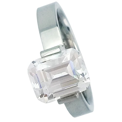 B.Tiff BTiff Signity Star Brighter than Diamond 2ct Emerald Cut Tension Set Solitaire Ring Black, Rose Gold, Silver, sizes 4 - 9 (Silver, 6)