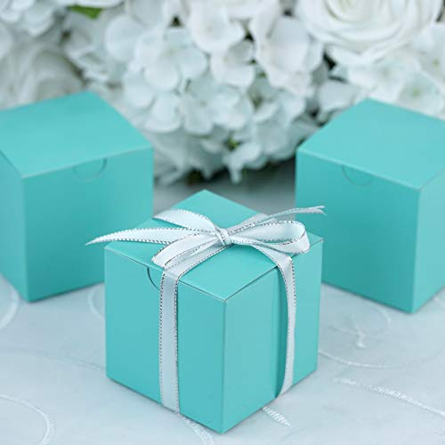 Efavormart 100 pcs of 3x3x3 Turquoise Favor Box for Candy Treat Gift Wrap Box Party Favor Boxes for Bridal Shower Wedding -