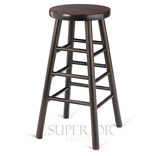 Backless Commercial Wood - Walnut Traditional Backless Wood Commercial Bar Stool