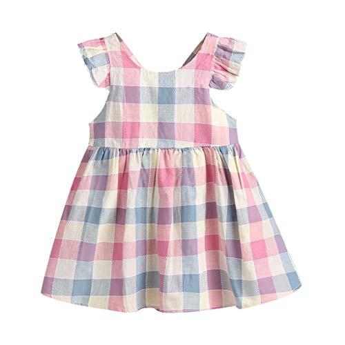 - CCSDR Toddler Kids Girls Casual Rough Plaid Print Backless Sleeveless Dress Summer Gift Pink