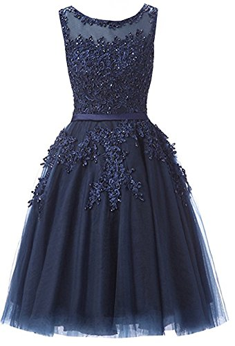 Ever Girl Women's Knee Length Tulle Lace Appliques Hollow Homecoming Dress Navy Blue US10 (Blue Tulle Dress Womens)
