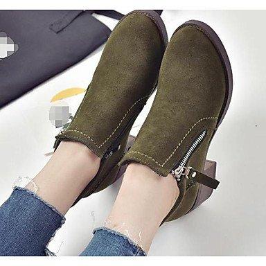 Botas de la mujer confort confort informal de primavera de gamuza marrón Verde Ejército plana negra Black