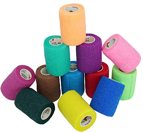 Elasti-Wrap 3 Inch Breathable Cohesive Bandage Self-Adherent, Self-Adhesive Elastic Vet Wrap Assorted Colors (6, 12, 18 & 24 Packs) (12 Rolls)