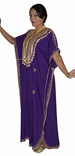 Moroccan Caftan Hand Made Top Quality Breathable Cotton with Gold Hand Embroidery Long Length Purple by Moroccan Caftans (Image #3)