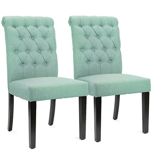 XtremepowerUS Padded Fabric Dining Chair, Set of 2 (Sea Mist)