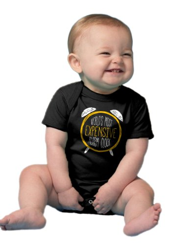 """Ann Arbor T-shirt Co. Unisex Baby """"World's Most Expensive Alarm Clock"""" One Piece"""