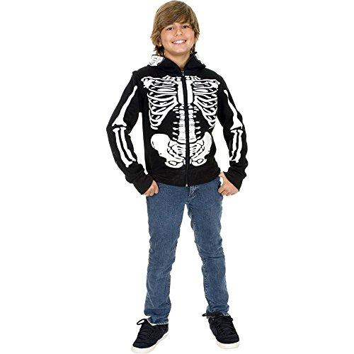 [Skeleton Sweatshirt Hoodie Costume - Small] (Boys Skeleton Sweatshirt Hoodie Costumes)