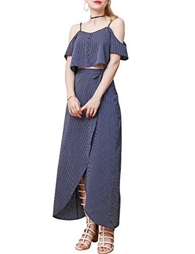 Long Skirt Set (Margin Point Version Women Crop Top Maxi Skirt Casual Strap Off Shoulder Two Piece Dresses)