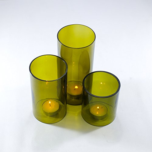 Wine bottle Tea Light Hurricane candle cover Trio set : Olive Green ()
