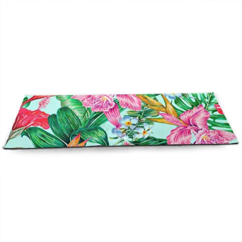 Whages Exotic Flowers Palm Leaves Jungle Leaf Hibiscus Orchid Bird of Paradise Personalized Non-Slip Soft Advanced Printed Environmental Yoga Mat 31.5
