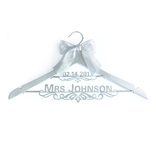 Personalized Wedding Dress Hanger with Name and Date, Custom Bride Hanger with Bow, Wedding Dress Hanger,Bridal Hanger,Name Hanger]()