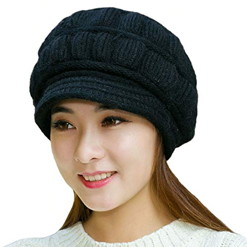 (Muryobao Winter Hat Crochet Knit Slouchy Beanie Cap Outdoor Warm Snow Ski Knitted Hats with Visor for Women Black)
