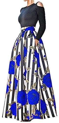 Delcoce 2pcs Tops Skirt for Women Cold Shoulder Maxi Dresses with Pockets Blue L