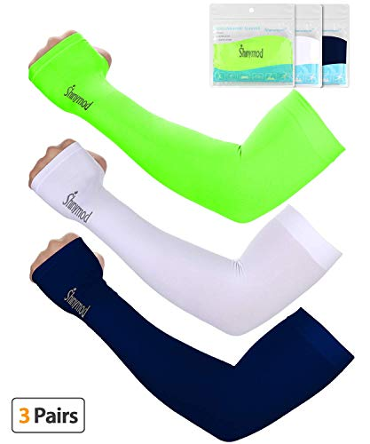 SHINYMOD UV Protection Cooling Arm Sleeves for Men Women Sunblock Cooler Protective Sports Gloves Running Golf Cycling Basketball Driving Fishing Long Arm Cover Sleeves (Navy+Neon Green+White) (Sleeve Protective Forearm)