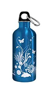 Green Bottle TGB009 20-Ounce Reusable Stainless Steel Water Bottle with Screw Top, Blue Blossoms