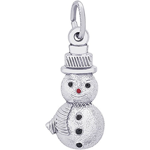 (Genuine Rembrandt Charms Sterling Silver Snowman Charm Measuring Approximately 18.5 x 9.5 mm)