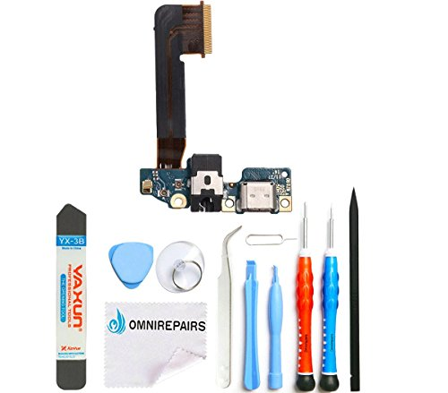 Ominirepairs-For HTC One M9 Charging Charger USB Port Flex Cable, Microphone, Headphone Audio Jack Port Ribbon OEM Replacement with Toolkit
