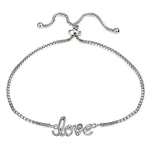 Sterling Silver LOVE Polished Adjustable Bracelet