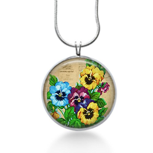 Colorful Pansies flowers silver plated necklace- Handmade