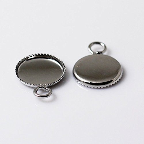 Brass 10mm Round Cabochon Pendant Setting Sold by Lot(50Piece)… 10mm Round Cabochon Pendant