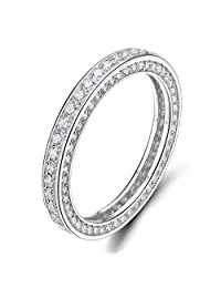 EAMTI 3MM 925 Sterling Silver Rings Cubic Zirconia Eternity Engagement Wedding Band Size 4-10