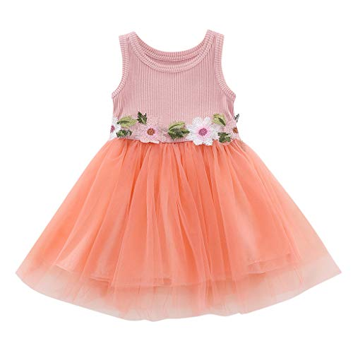 WOCACHI Toddler Baby Girls Dresses, Baby Girls Sleeveless Floral Tulle Dress Flower Princess Dresses 2pcs 3pcs Footies Outfit Onesies 0-24 Months 2-8 Years Playsuits Tutu -
