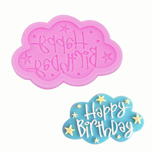 Gotian Happy Birthday Silicone Fondant Mould Cake Decorating Cloud Lace Baking Mold - from Sweet Candy Treats to Irresistible Caramels -Long lasting - Make Your Life Sweeter (8.5 x 5.5 cm) (Pink)