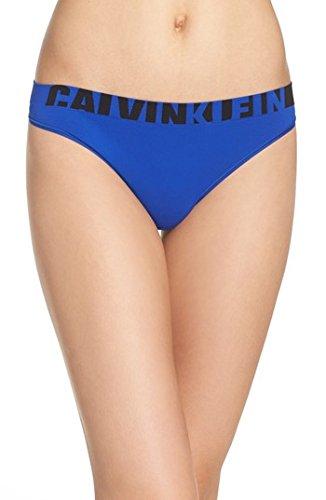 Calvin Klein Women's Seamless Logo Thong Panty, Amplified Blue, - Discount Designer Warehouse