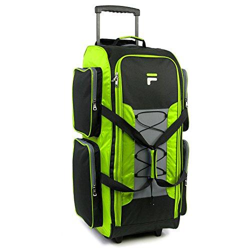 Fila 32″ Lightweight Rolling Duffel, Neon Lime