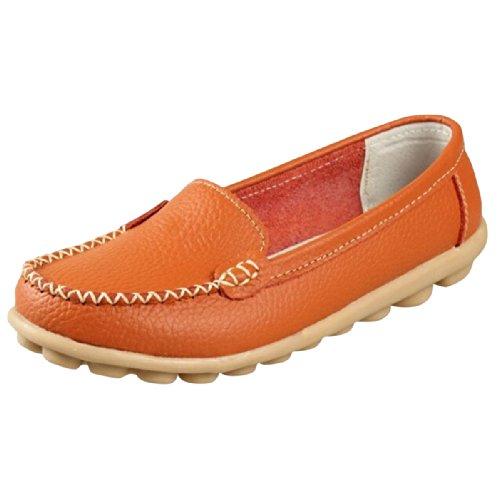Hee Grote Vrouwen Werken Platte Mocassin Loafer Instapschoenen Oranje