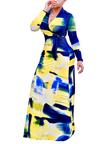 Akmipoem Women's Floral Print Long Sleeve Tie Waist Surplice Boho Maxi Dress (XX-Large/US 14)