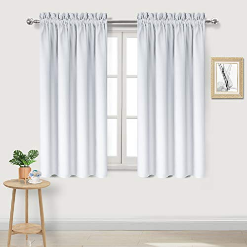 DWCN Blackout Curtains Thermal Insulated Energy Saving Bedroom and Kitchen Curtains Window Treatments, W 38 x L 45 Inch, Set of 2 Greyish White Rod Pocket Drapes