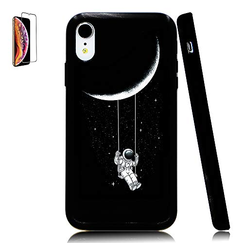 (Lartin Astronaut Riding a Swing Tethered to The Moon Soft Flexible Jellybean Gel TPU Case for iPhone XR)