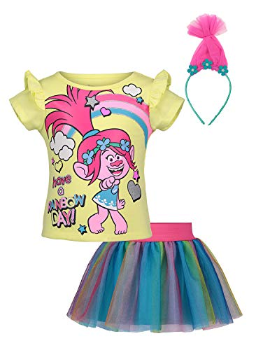 Trolls (922960TRT) Toddler Girls Costume Dress with Special Hair Headband in Yellow, 3T]()