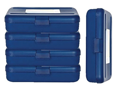 (1InTheOffice Pencil Box, Translucent Blue (4 Pack))