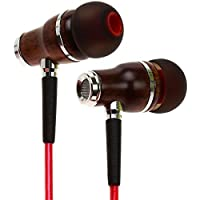 Symphonized NRG 2.0 Premium Genuine Wood In-ear Noise-isolating Headphones|Earbuds|Earphones with Innovative Shield Technology Cable and Mic (Lava Red)