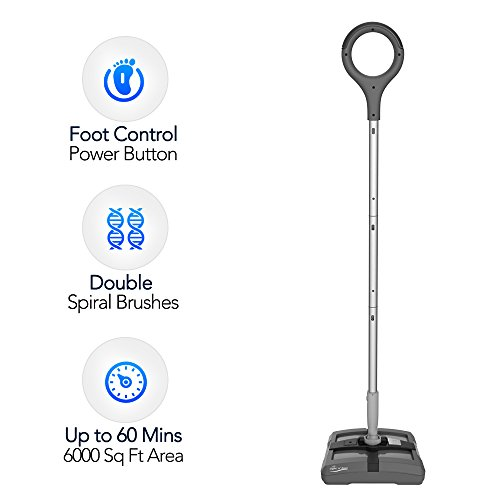 Electric Floor Sweeper- Rechargeable Cordless Floor Sweeper w/ Ergonomic Handle & Double Powerful Brushes, Up to 60 Minutes, Electric Broom Perfect for Home Office Hard/Bare Floor Cleaning