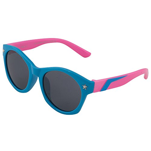 Kids Flexible Rubber Sunglasses for Boys and Girls - Blue and Pink Wayfarer Bendable and Unbreakable Frame - 100% UV Protection and Polarized Lenses - By Optix - With Cartoon Sunglasses
