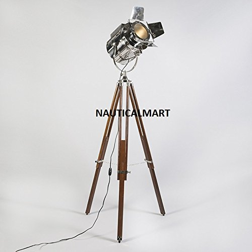 Nauticalmart Chrome Finish Brown Wooden Tripod Studio Floor Lamp For