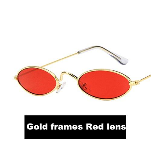 2018 el Nuevo Lente Gafas Para sol Oro Gafas Metal Casual hombre Marcos Oval Moda HD Guay de Rojo q7twxnTP