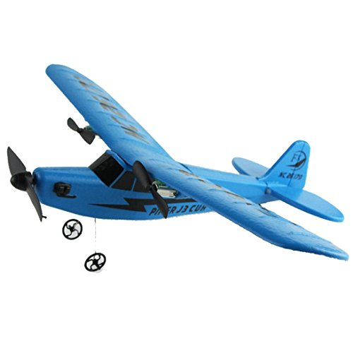 (E-SCENERY 2.4G 2CH Radio Remote Control Airplane Aircraft Glider, EPP foam RC Plane Helicopter Toys for Kids Adults (Blue))