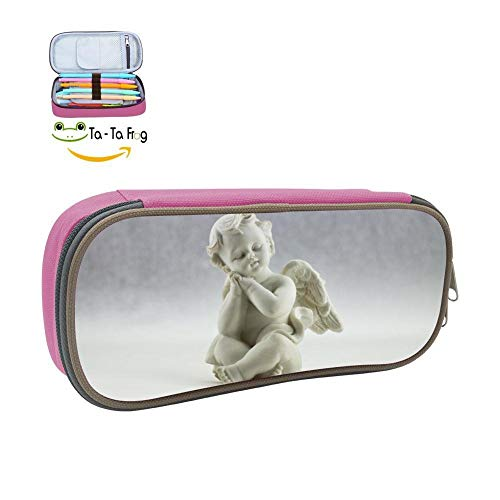 Pencil Case Man Made Cherub Statue Origina School Pen Bag Big Capacity Double Zipper Durable Students Stationery Multipurpose Makeup Pouch Buggy Bag for Girls Pink