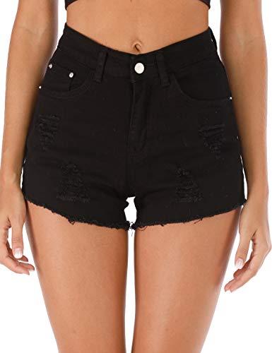 Haola Womens Ripped Hole Denim Shorts Fashion Raw Hem Distressed High Waisted Shorts Black S